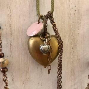 heart brass necklace