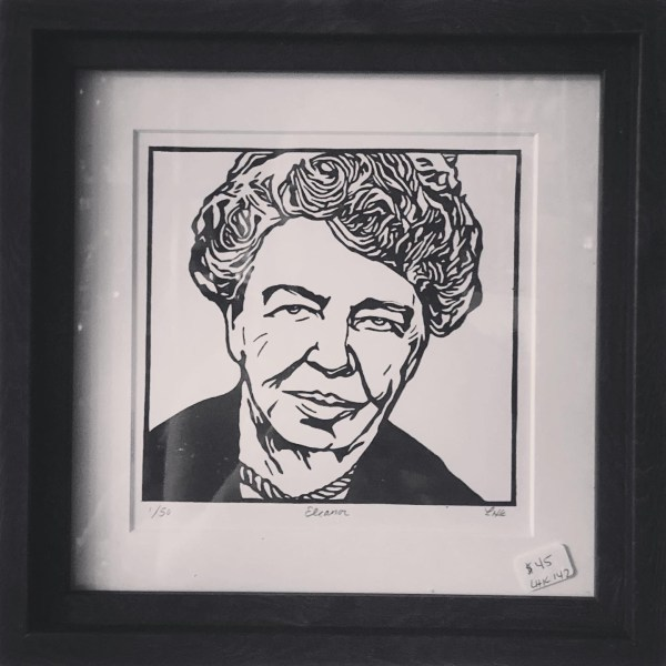 Eleanor Roosevelt linocut print