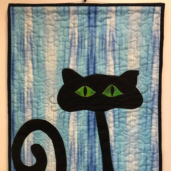 black cat kitty quilt wall hanging