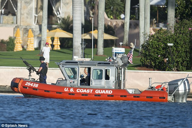 Barron Trump stood by and watched a U.S. Coast Guard boat armed with a machine gun as it patrolled the area where he was playing at the Mar-a-Lago estate in Florida last week