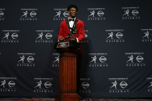 Lamar Jackson of the Louisville Cardinals poses for a photo after being named the 82nd Heisman Memorial Trophy Award winner during the 2016 Heisman Trophy Presentation at the Marriott Marquis on December 10, 2016 in New York City. Michael Reaves/Getty Images North America