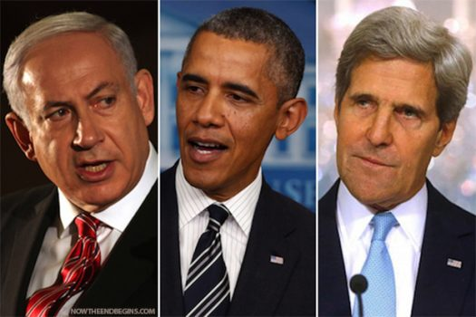 From left to right: PM Netanyahu, President Obama and Sec of State, John Kerry