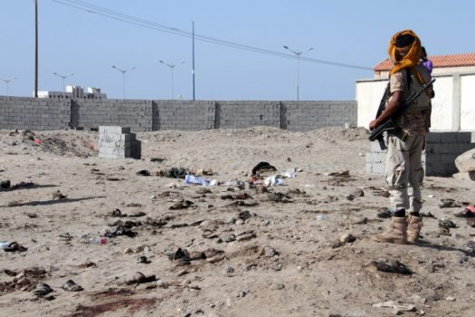 A suicide bomber killed at least 52 Yemeni soldiers and police Dec. 18 outside a military base. (Saleh Al-Obeidi/Agence France-Presse via Getty Images)