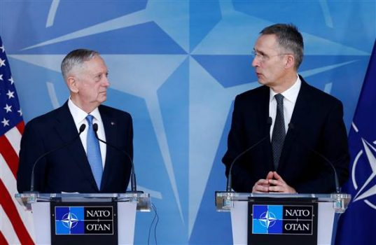 Defense Secretary Jim Mattis and NATO Secretary-General Jens Stoltenberg brief the media during a NATO defence ministers meeting at the Alliance headquarters in Brussels on Feb.15, 2017. (Francois Lenoir / Reuters)