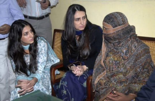 Asia Bibi (R) was sentenced to execution in 2010 after being accused by her former colleagues of blaspheming against the Prophet Mohammad.