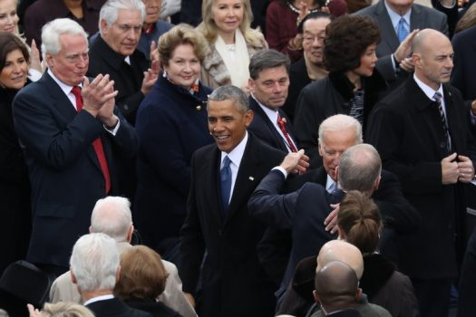 Barack Obama at President Trump's inauguration in January. Mr. Obama will return to Chicago on Monday for his first public event as a former president. (Credit: Josh Haner/The New York Times)