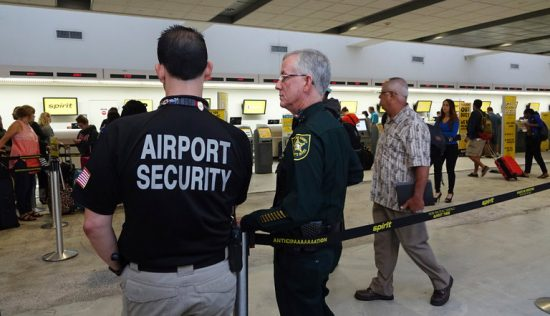 Airport security and local sheriffs were called in on Monday after several Spirit Airlines passengers became irate at flight cancellations in Ft. Lauderdale, Fla. (Credit: Joe Cavaretta/South Florida Sun-Sentinel, via Associated Press)