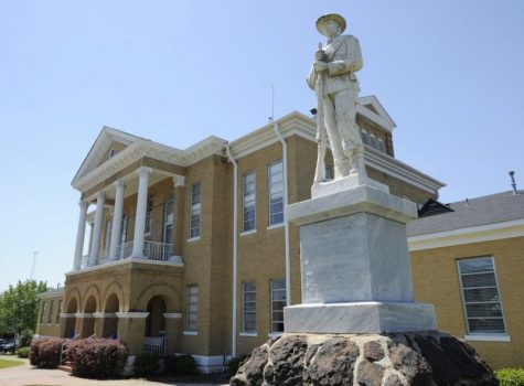 In this April 10, 2014, file photo, a Confederate monument stands outside the Choctaw County Courthouse in Butler, Ala. The Alabama Legislature has approved a bill Friday, May 19, 2017, that would prohibit the removal of historic monuments that have stood for more than 40 years. (AP Photo)
