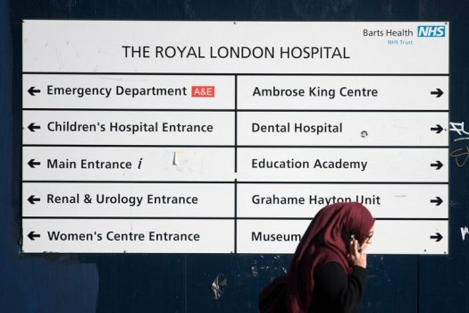 A sign outside the Royal London Hospital, in Central London. The hospital was one of a number of hospitals and institutions operated by Britain's National Health Service hit Friday by a large-scale ransomware cyber attack. (Credit: Will Oliver/European Pressphoto Agency)