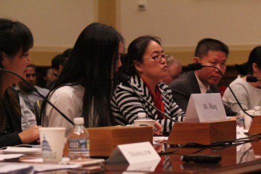 Wang Yanfang, the wife of imprisoned rights lawyer Tang Jingling, speaks during a Congressional hearing in Washington, D.C. on May 18, 2017. The hearing also featured other wives of human rights lawyers imprisoned and tortured in China. (PHOTO: THE CHRISTIAN POST / SAMUEL SMITH)