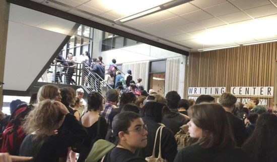 In this Wednesday, May 24, 2017, photo, after weeks of brewing racial tension on campus, hundreds of students at the Evergreen State College in Olympia, Wash., protest against the college administration and demanded change. (Lisa Pemberton/The Olympian via AP)