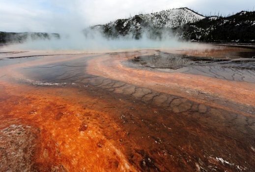 View of the 'Grand Prismatic' hot spring in Yellowstone National Park. (MARK RALSTON/AFP/GETTY IMAGES)