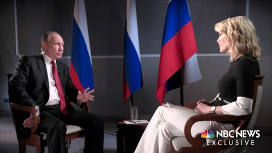 """Megyn Kelly interviews Russian President Vladimir Putin in an exclusive interview taped for the premiere of her NBC news program, """"Sunday Night With Megyn Kelly."""" (nbcnews.com)"""