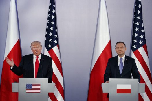 U.S. President Donald Trump, left, speaks during a news conference with Polish President Andrzej Duda at Royal Castle, Thursday, July 6, 2017, in Warsaw. CREDIT: AP Photo/Evan Vucci