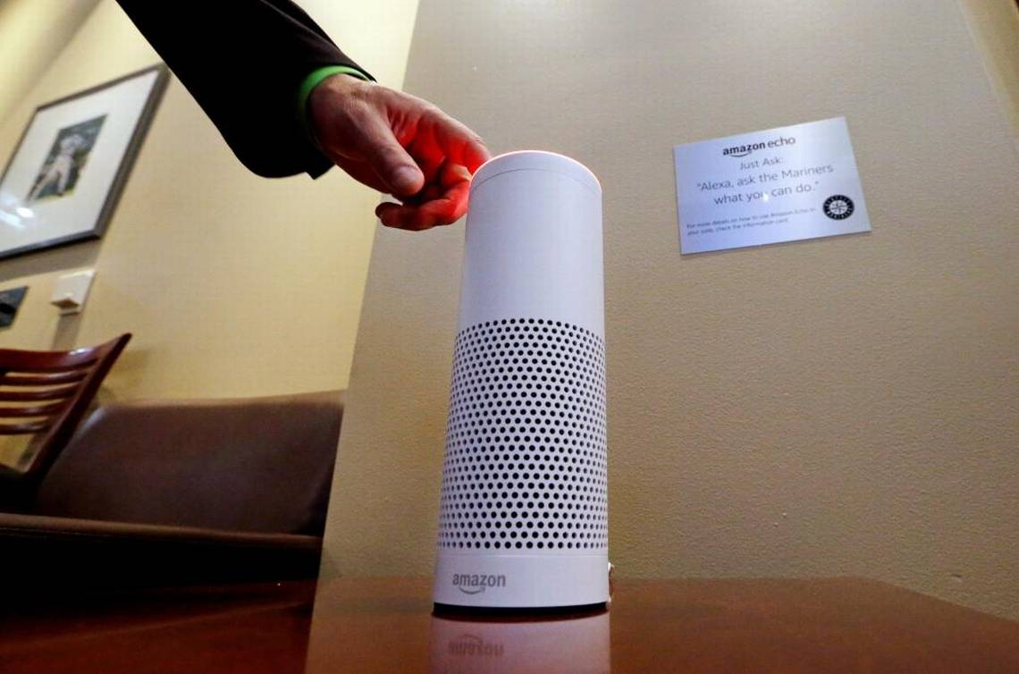 An Amazon Alexa device is switched on for a demonstration of its use in a ballpark suite before a Seattle Mariners baseball game in Seattle on May 17, 2017. Voice-activated devices are among internet-enabled electronics that may collect private data from their owners. (Elaine Thompson, AP)