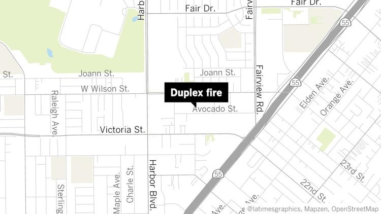 A fire broke out at 350 Avocado St. in Costa Mesa on Tuesday night, fire officials said. (Daily Pilot)