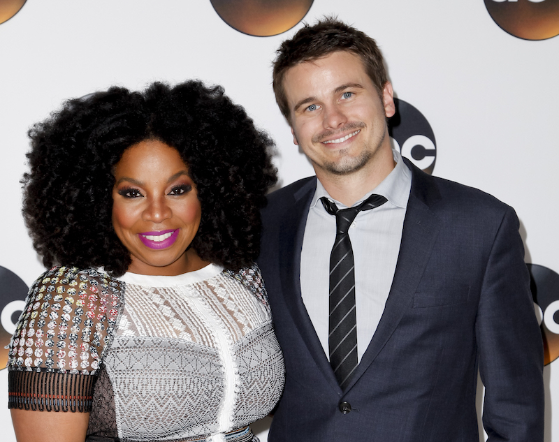 Actors Kimberly Hebert Gregory and Jason Ritter pose during the 2017 Summer TCA Tour Disney ABC Television Group at the Beverly Hilton Hotel in Beverly Hills, California, on August 6, 2017. (AFP PHOTO / TIBRINA HOBSON)