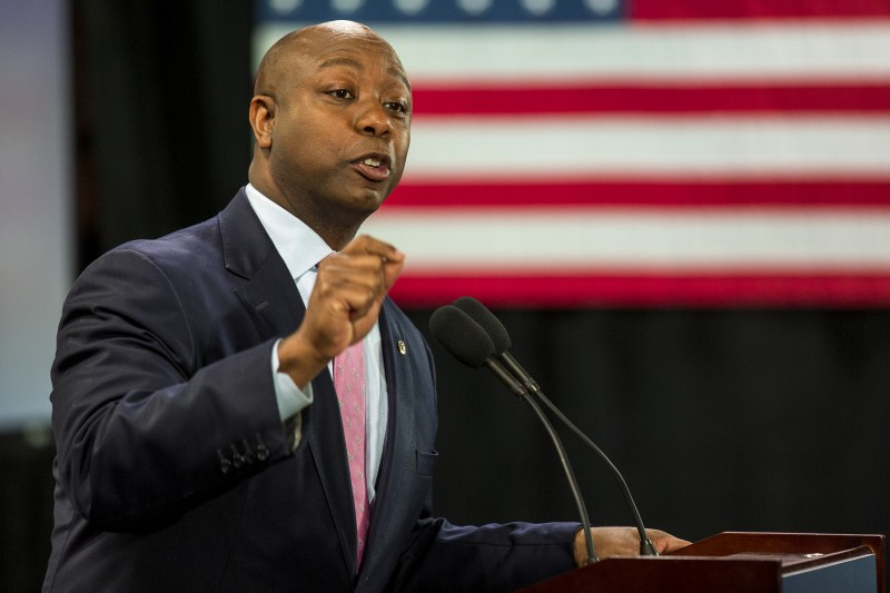 Sen. Tim Scott (R-S.C.) is more popular in South Carolina than his white Senate colleague Lindsey Graham, one study found. (Alex Holt/for The Washington Post)