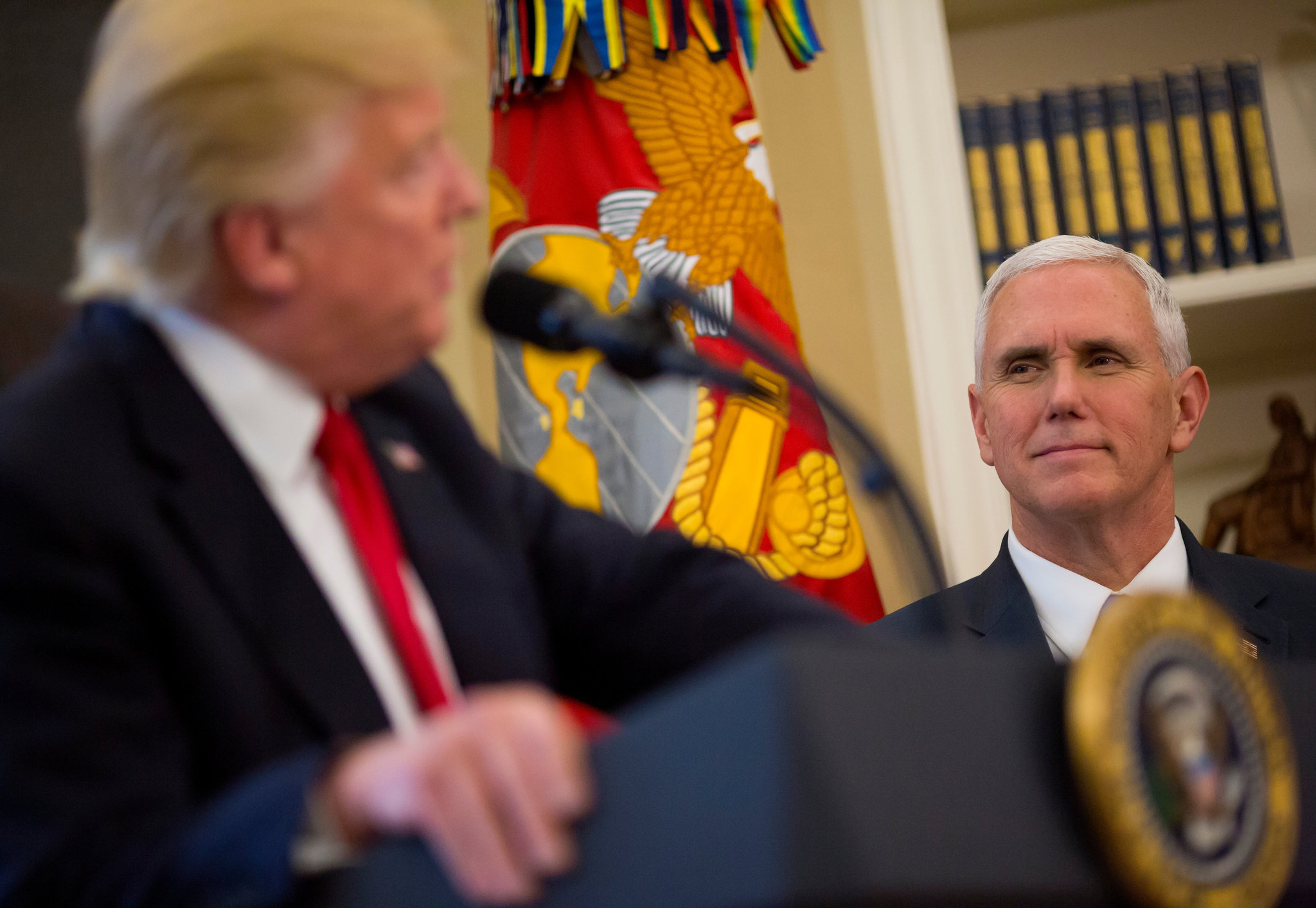 Vice President Mike Pence appears to be cementing his status as President Trump's heir apparent, promoting himself as the conduit between Republican donors and the administration. (Credit: Eric Thayer for The New York Times)
