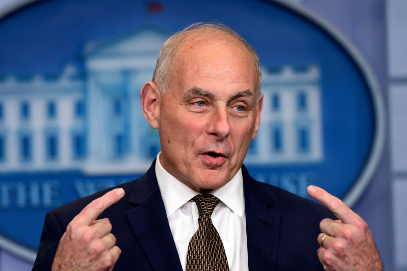 FILE - In this Oct. 12, 2017, file photo, White House Chief of Staff John Kelly speaks during the daily press briefing at the White House in Washington. (AP Photo/Susan Walsh)