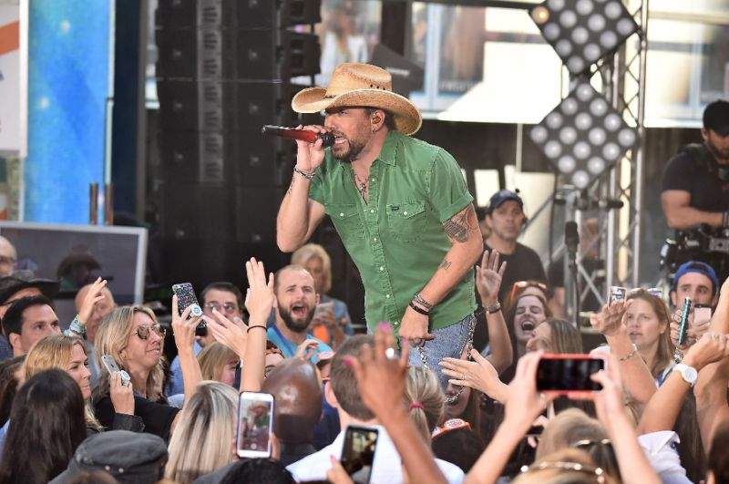 "Jason Aldean performing on NBC's ""Today"" at Rockefeller Plaza in August in New York City (AFP Photo/Theo Wargo)"