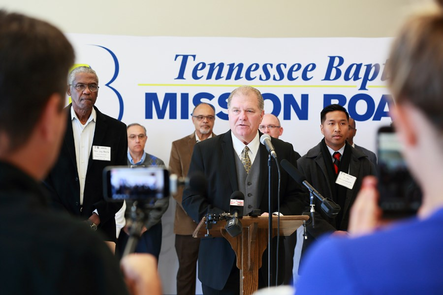 Randy C. Davis, president and executive director of the Tennessee Baptist Mission Board, speaks during a press conference held Oct. 25. (Photo by Corinne Rochotte, Baptist and Reflector)