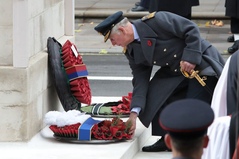 Prince Charles placed a wreath at the base of the Cenotaph during the annual Remembrance Sunday service in London. (Credit: Jack Taylor/Getty Images)