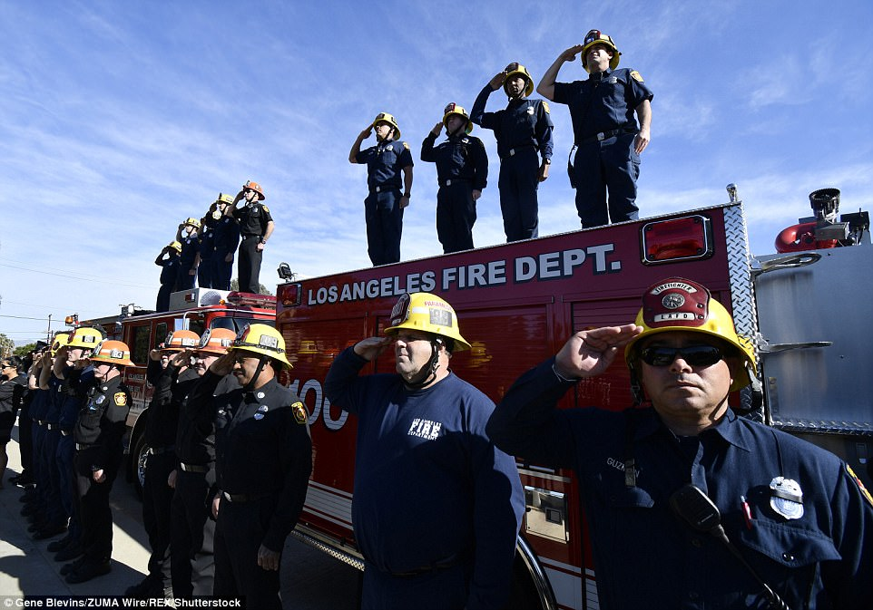 Funeral Procession for Firefighter Who Died Battling Massive