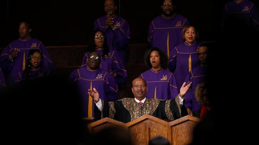 Senior Pastor J. Edgar Boyd speaks during church service Sunday at the First African Methodist Episcopal Church in South Los Angeles. (Francine Orr/ Los Angeles Times)