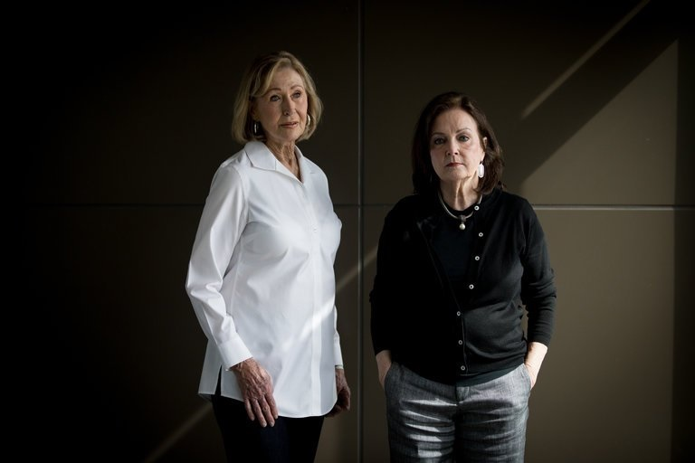 """Carol Rains, left, an evangelical Christian in Texas, doesn't regret her vote for President Trump but would like to see another Republican run against him in 2020. Her friend Linda Leonhart agrees: """"I will definitely take a look to see who has the courage to take on a job like this and do what needs to be done."""" (Credit: Allison V. Smith for The New York Times)"""