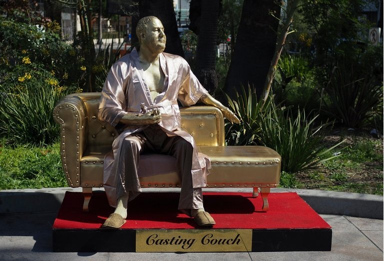 "A guerrilla art installation titled ""Casting Couch"" represents Harvey Weinstein. It has been placed along Hollywood Boulevard ahead of the Academy Awards. (Credit: Eugene Garcia/European Pressphoto Agency)"