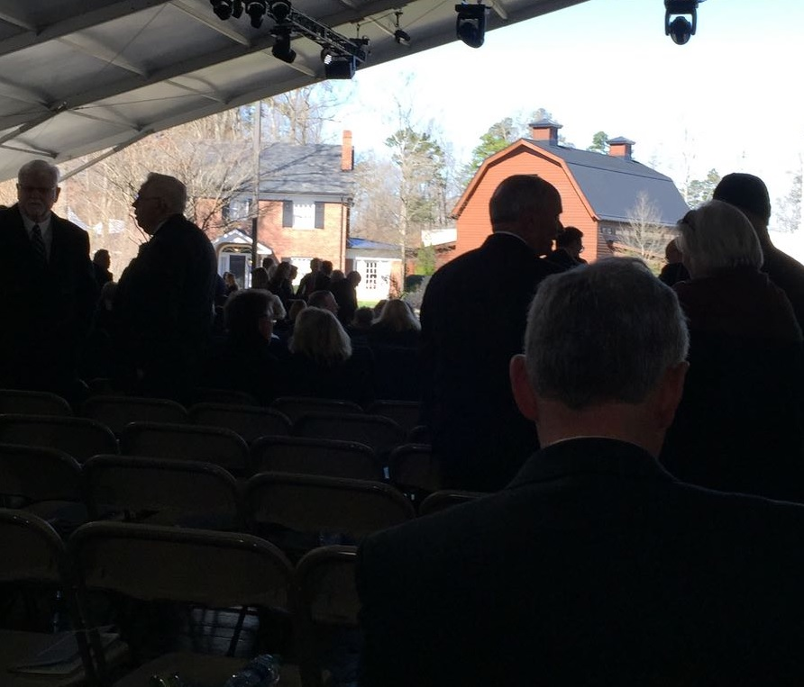 """Inside the """"canvas cathedral"""" where Billy Graham's private funeral is being held. Photo taken by Daniel Whyte III, one of 2,300 individuals invited to attend."""