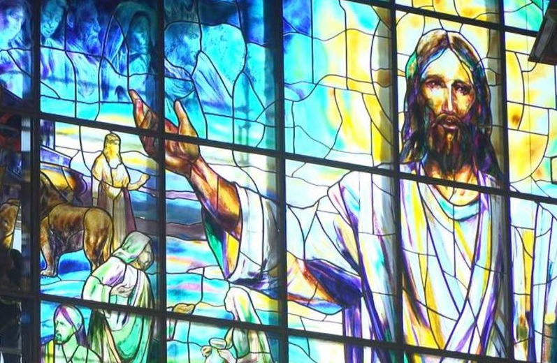 A stained-glass window at United Methodist Church of the Resurrection in Leawood, MO. (Shelly Yang, The Kansas City Star)