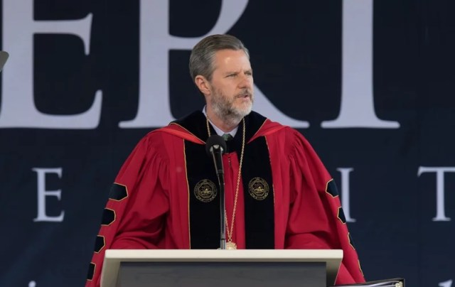 Liberty University president Jerry Falwell Jr. speaks during Liberty University's 43rd Commencement Ceremony on May 14, 2016. (Photo by Joel Coleman, courtesy of Liberty University)