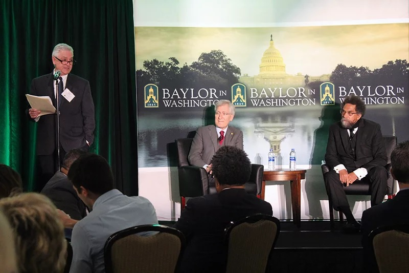 Dean Thomas Hibbs, left, director of Baylor in Washington, introduces panelists Robert P. George and Cornel West for a discussion on the life and legacy of the Rev. Martin Luther King Jr. on May 29, 2018. RNS photo by Adelle M. Banks