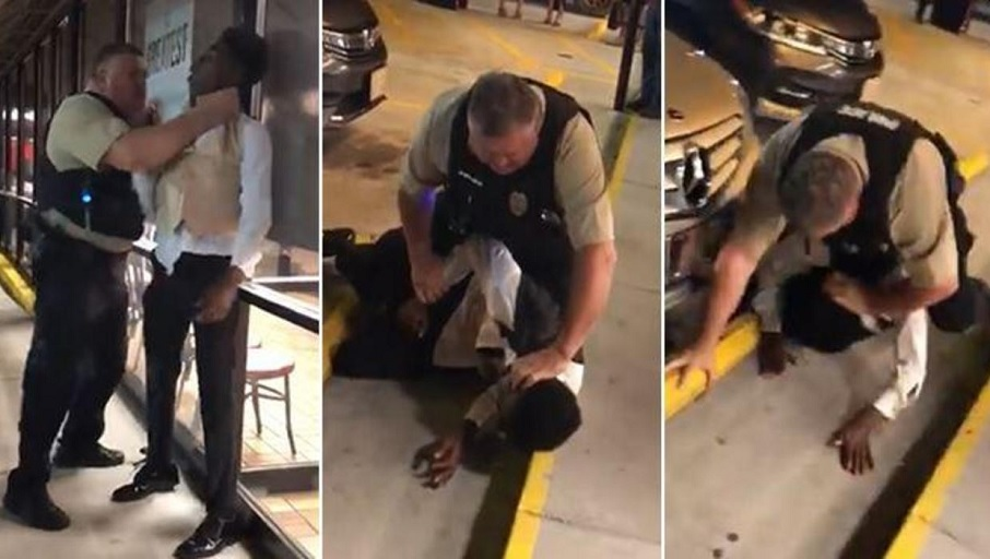 Stills from a Facebook video show an officer choking a teen in prom attire at a North Carolina Waffle House (ANTHONY WALL/FACEBOOK VIA WGCL)