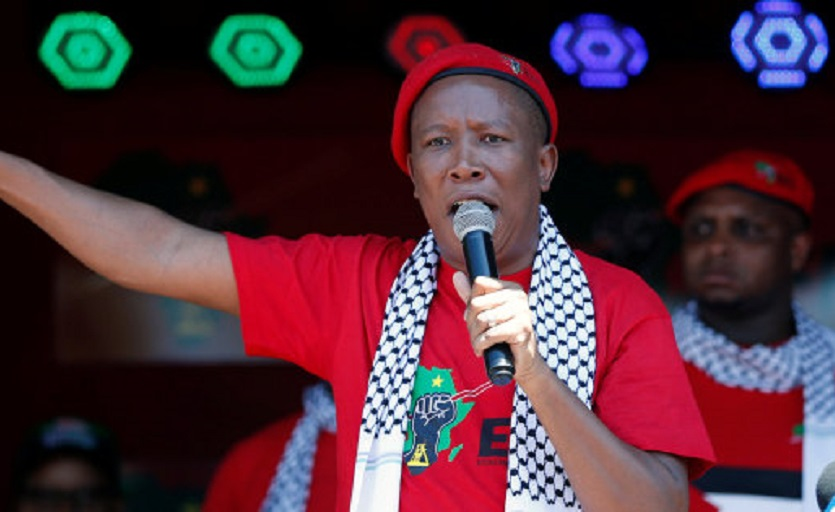Leader of South Africa's ultra-left Economic Freedom Fighters party (EFF), Julius Malema addresses his supporters, outside the Israeli embassy in Pretoria, South Africa, November 2, 2017. REUTERS/Siphiwe Sibeko