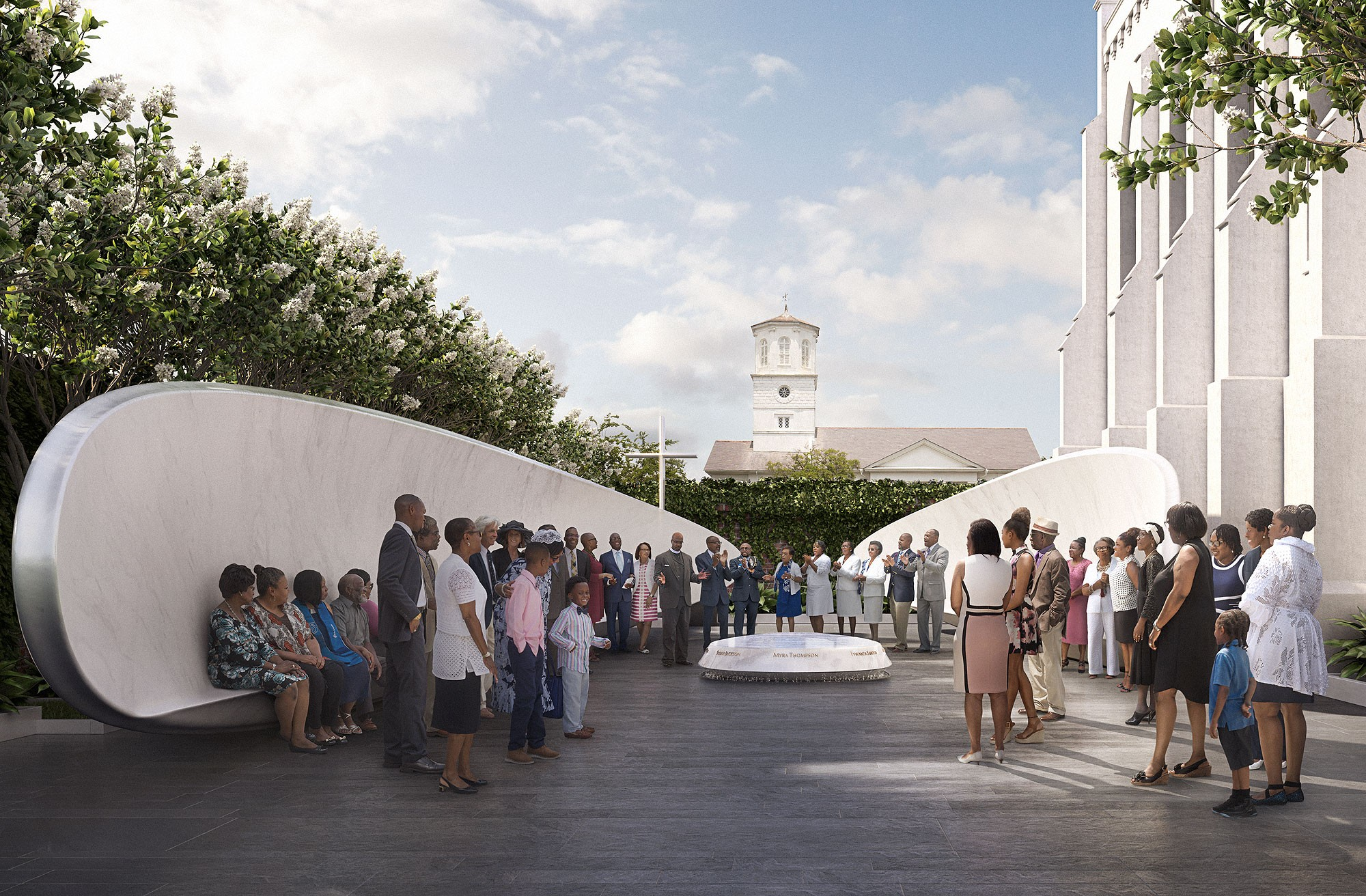 A design rendering showing a crowd gathered at Memorial Court, directly to the left of Mother Emanuel on Calhoun Street. (Courtesy Dbox for The Mother Emanuel Nine Memorial / Handel Architects)