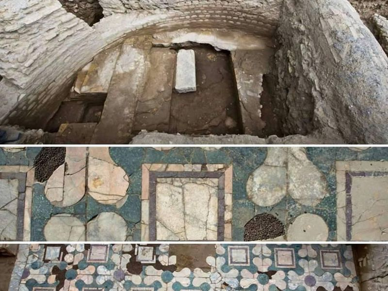 Some of the finds from the excavated building, which because of its size, decorations and location archaeologists speculate is a church. (Archaeological Superintendency of Rome)
