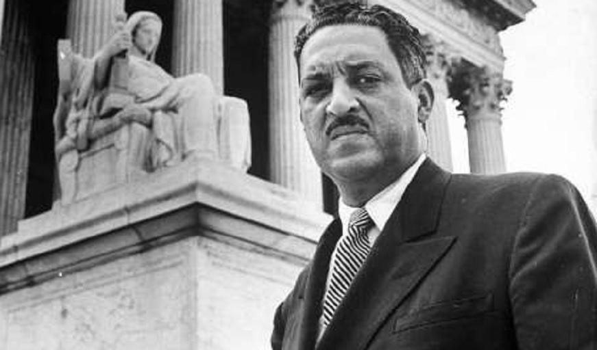 NAACP chief counsel Thurgood Marshall in serious portrait outside Supreme Court Building in 1955. (Photo: Hank Walker, The LIFE Picture Collection/Getty)