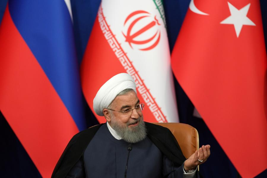 Iranian President Hassan Rouhani speaks during a news conference in Tehran, Iran September 7, 2018. Kirill Kudryavtsev/Pool via REUTERS