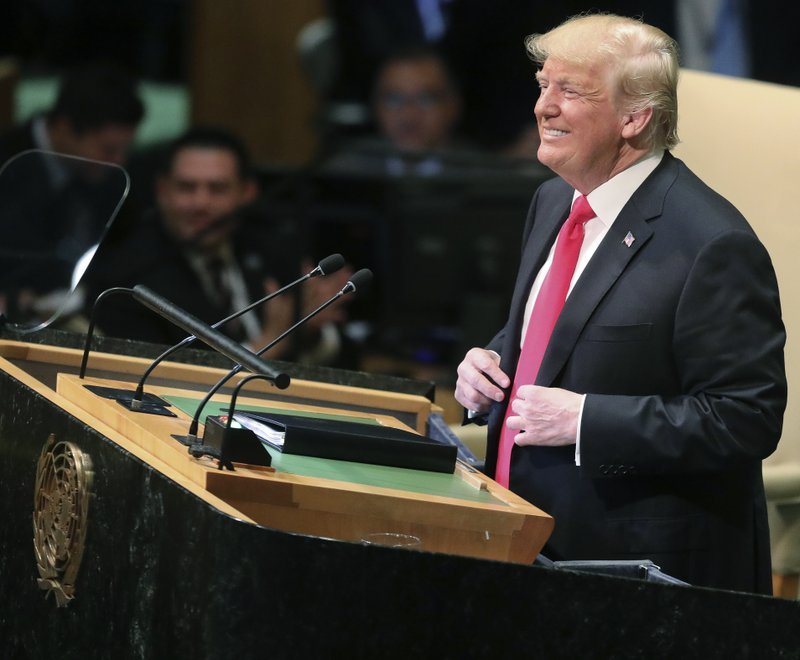 President Donald Trump reacts to laughter from diplomats during his address to the United Nations General Assembly, Tuesday Sept. 25, 2018 at U.N. headquarters. (AP Photo/Bebeto Matthews)