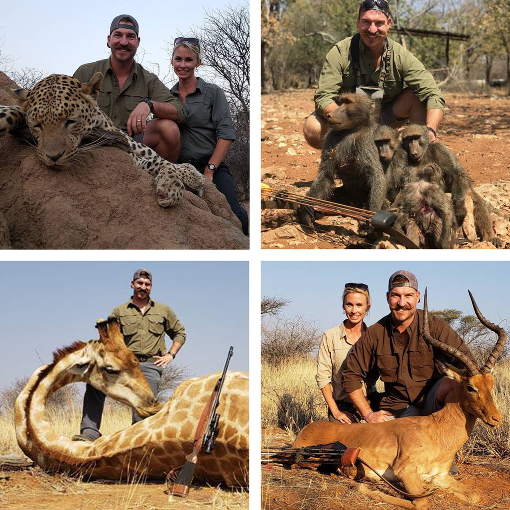 "Blake Fischer and his wife, Beth, posed with animals killed on a hunting trip in Namibia. He was forced to resign from his position as an Idaho fish and game commissioner on Monday. (Credit: Office of Governor C.L. ""Butch"" Otter)"