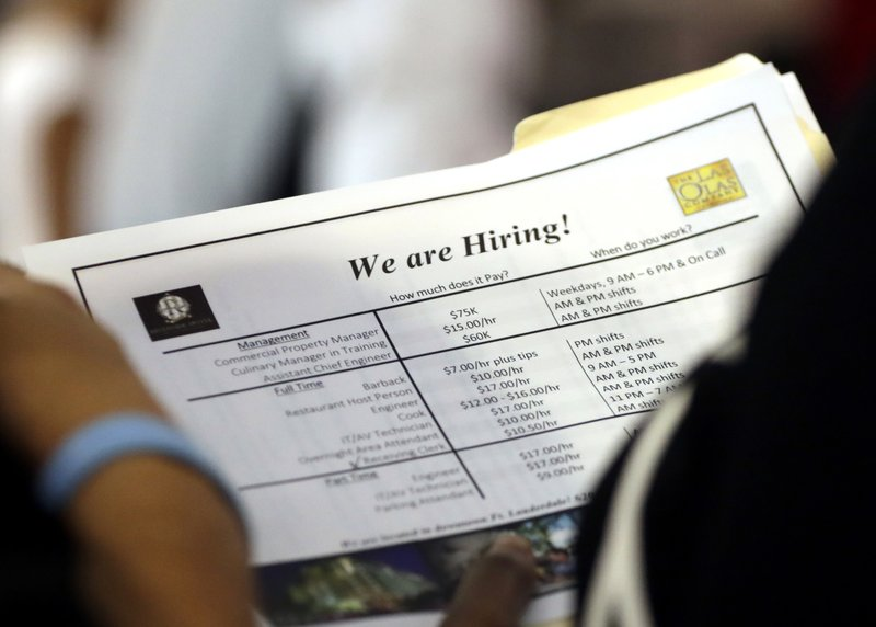 FILE - In this June 21, 2018 file photo, a job applicant looks at job listings for the Riverside Hotel at a job fair hosted by Job News South Florida, in Sunrise, Fla. The U.S. unemployment rate fell to 3.7 percent in September 2018 the lowest level since December 1969 — signaling how the longest streak of hiring on record has put millions of Americans back to work. Employers added just 134,000 jobs last month, the fewest in a year, the Labor Department said Friday, Oct. 5. But that figure was likely depressed by the impact of Hurricane Florence. (AP Photo/Lynne Sladky)