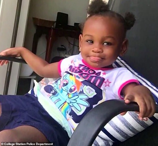 Hazana Anderson, two (pictured), from College Station, Texas, was reported missing on October 28 by her mother, 21-year-old Tiaundra Christon.