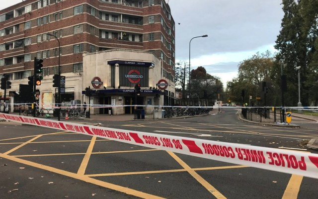 A police cordon outside Clapham South Tube Station in south west London (CREDIT: PA)
