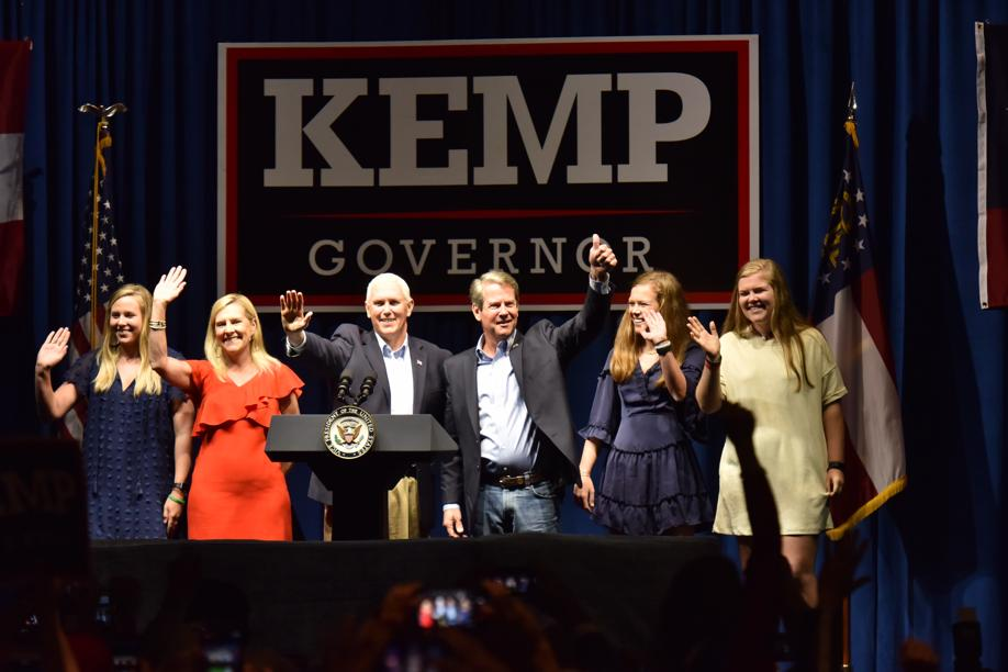 Vice President Mike Pence campaigns with Georgia Republican Brian Kemp in Dalton on Friday, Nov. 1, 2018.