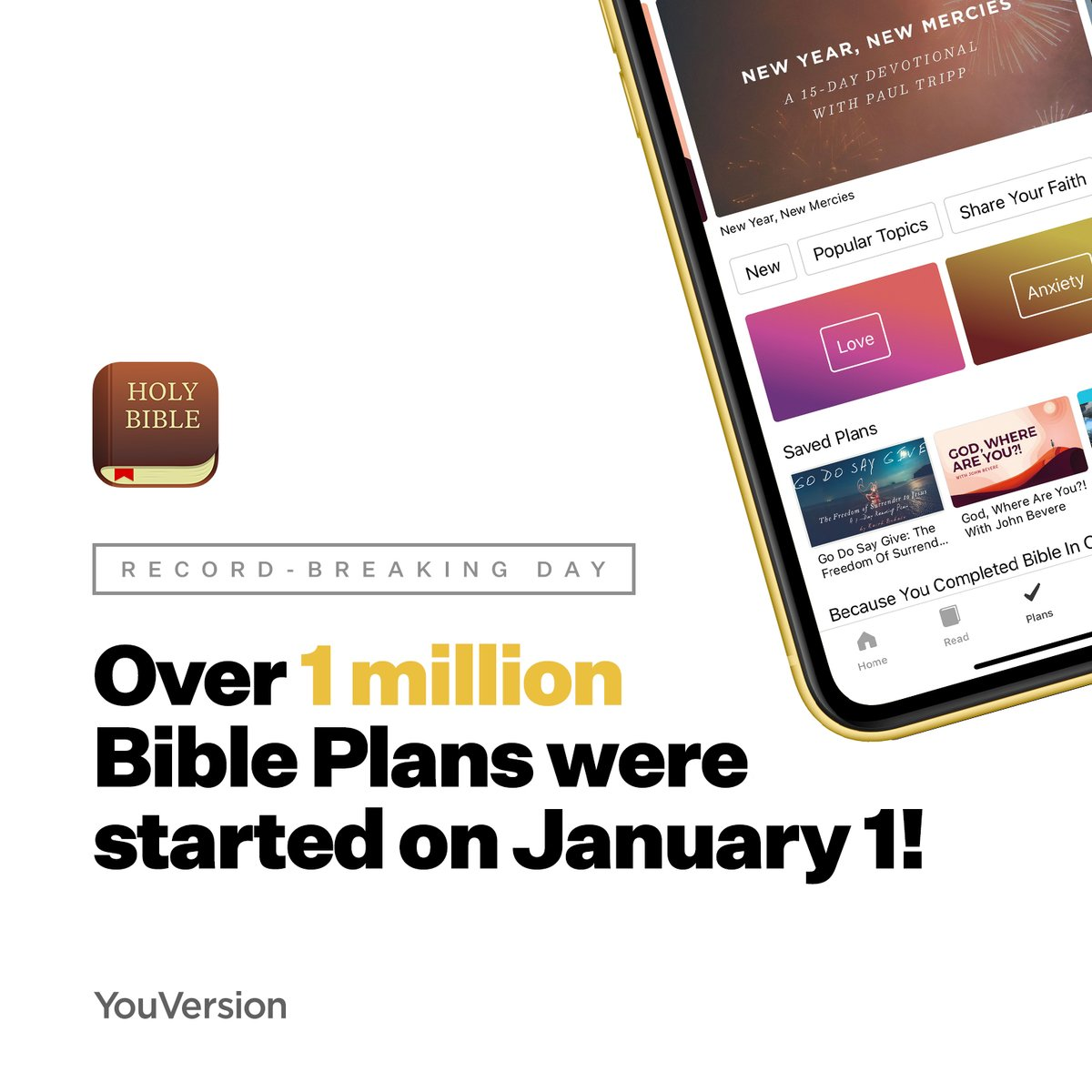 YouVersion App's Bible Plans Get Over 1 Million Subscriptions on