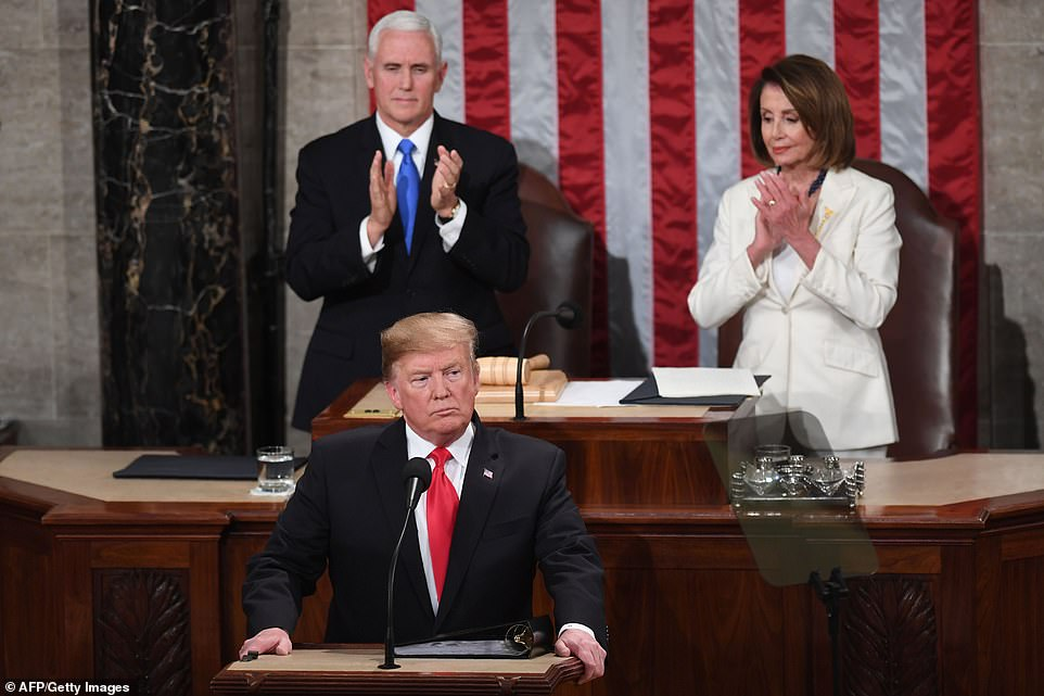 President Trump took the stage in front of Vice President Pence and House Speaker Nancy Pelosi to say the 'state of our union is strong' during his address.