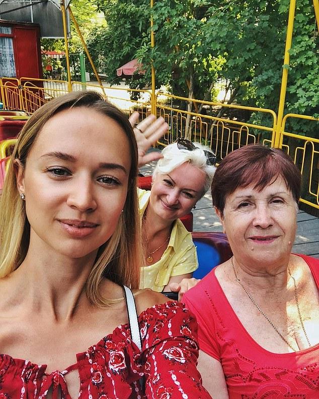 Ekaterina Polyakova (left) with her mother Elena Polyakova (centre with sunglasses) and her grandmother.